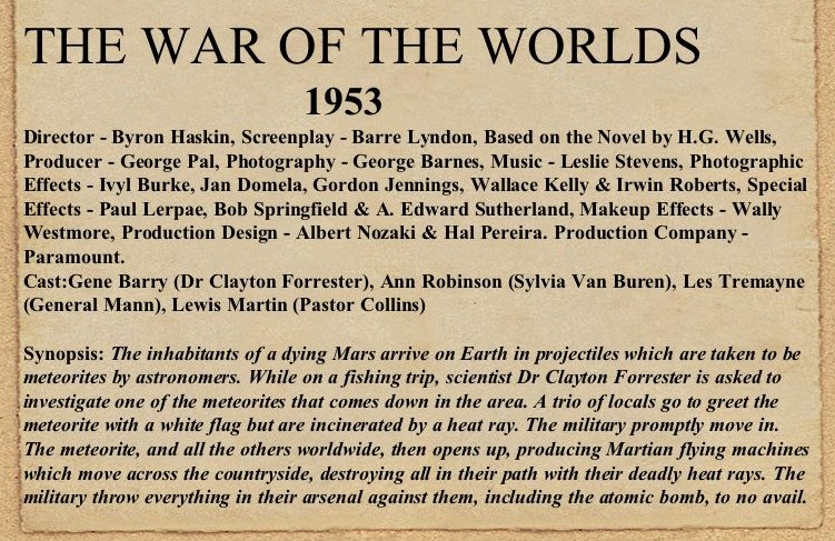 1953 war of the worlds movie. The War of the Worlds (also